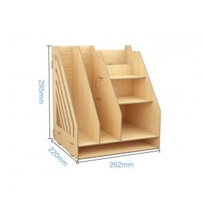 DIY Wooden Desk Organizer Office Storage Box with Drawer Pen Holder book rack - brown