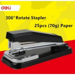 Deli 306 degree Rotate Metal Stapler Office Supplies School Paper Binding 25pcs paper 70g